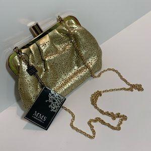 MMS Metallic Clutch Golden Cross Body Shoulder Bag